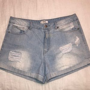 Light-Washed Distressed Jean shorts